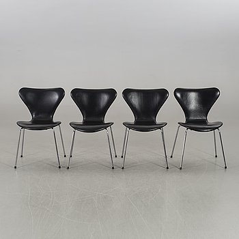 ARNE JACOBSEN, a set of four Sjuan chairs.
