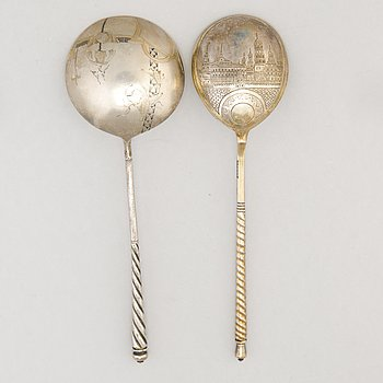 TWO SPOONS, silver, Moscow ca 1900, Alexandra Yagunova and Stefan Levin, Moscow ca 1881.