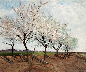 "49. CARL FREDRIK HILL, ""Blommande fruktträd"" (Blossoming fruit trees)."
