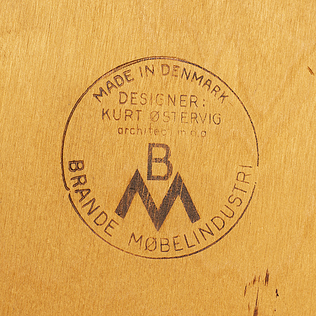 Kurt Østervig, a teak dining suite with a round table and six chairs, brande möbelindustri, denmark.