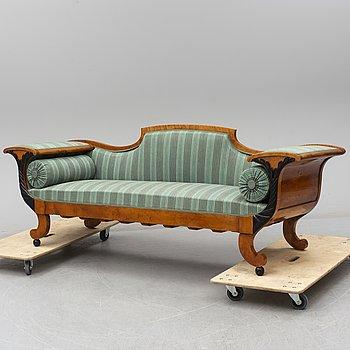 A late 19th century birch sofa.