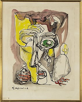 ERNST IOSIPOVITCH NEIZVESTNY, ink and watercolor on paper, signed and dated 63?.