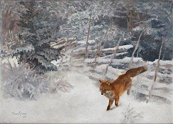 471. Bruno Liljefors, Fox in winter landscape.