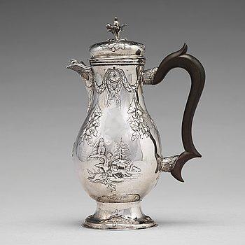 175. A German 18th century parcel-gilt silver coffee-pot, mark of Jacob Kolb, Augsburg 1779-1781.