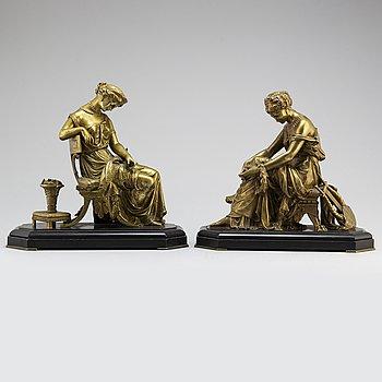 BORDSSKULPTURER, ett par, Susse Frères, Frankrike, 1800-talets andra hälft.