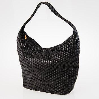 GUCCI 1980s Black leather Woven Hobo Bag.