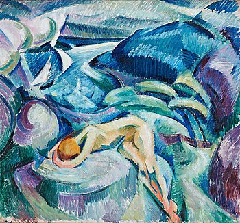 398. Agnes Cleve, Woman on a cliff.