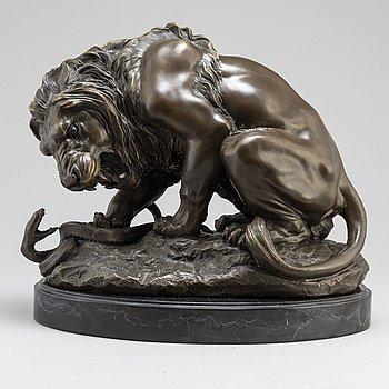 ANTOINE LOUIS BARYE, efter, Skulptur, brons. Höjd 35 cm, längd 42 cm.