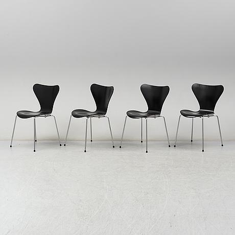 Arne jacobsen, a set of 4 'seven' chairs, fritz hansen 2004