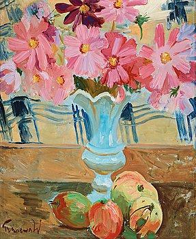 409. Isaac Grünewald, Still life with garden cosmos and apples.