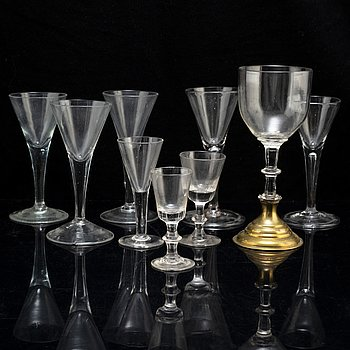 A set of nine various glasses, ca 1800 and later.