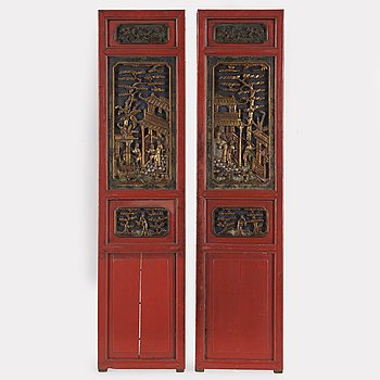 Two Chinese wooden carved panels, 20th century.