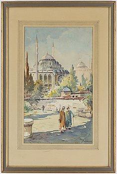 OKÄND KONSTNÄR, akvarell på papper, signerad T. Baldasar, Turkiet 1900-tal.