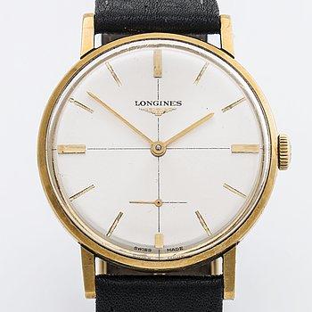 Longines wrist watch, 18 K gold, 1960's, 33 mm.