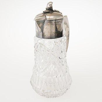 PITCHER, WMF (Württembergische Metallwarenfabrik) cut glass with silver plated top, late 19th century.