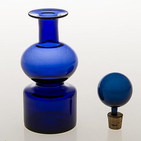 Kaj franck, glass bottle, upper part of 'the bells of kremlin', signed nuutajärvi notsjö.