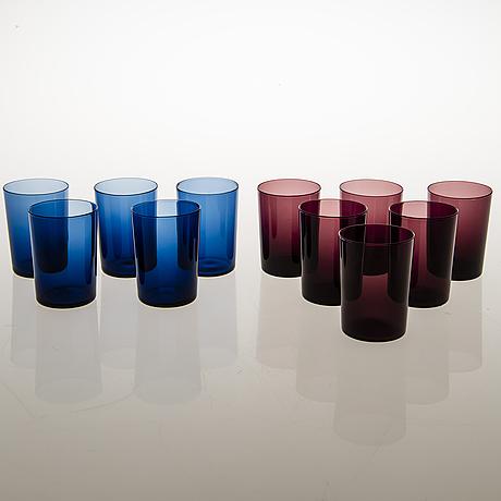 Timo sarpaneva, a pitcher, 11+4 drinking glasses and a vase, iittala.