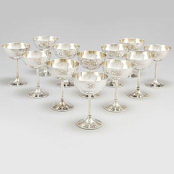 K Andersson, cocktailglas, 12 st, silver, Stockholm 1925.