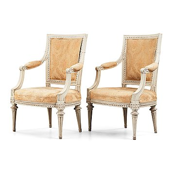9. A pair of Gustavian late 18th century armchairs by M. Lundberg (master in Stockholm 1775-1802).
