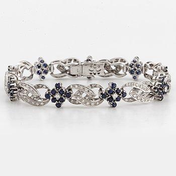 Eight-cut diamond and sapphire bracelet.