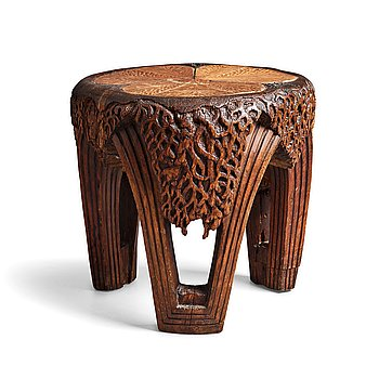 290. Rackengruppen, a carved pine Art Nouveau/ Folk Art table, early 20th century.