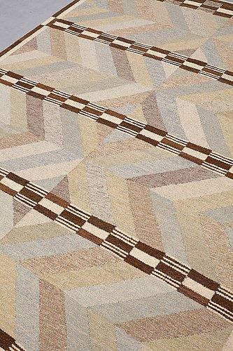 Kerstin mauritzson, a carpet, flat weave, ca 263,5 x 203,5 cm, signed km mo (designed by kerstin mauritzson, woven by marta olin).