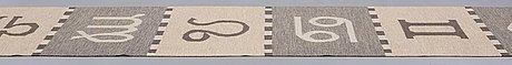 Agda österberg, matto, reduced, flat weave, ca 463 x 89,5 cm, a woven signature aö.