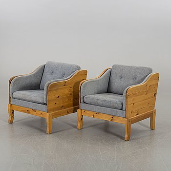 A pair of second half of the 20th century easy chairs by Yngve Ekström for Swedese.