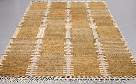 "Marianne richter, a carpet, ""rosita, brun"", flat weave, ca 293,5 x 182 cm, signed ab mmf v mr."