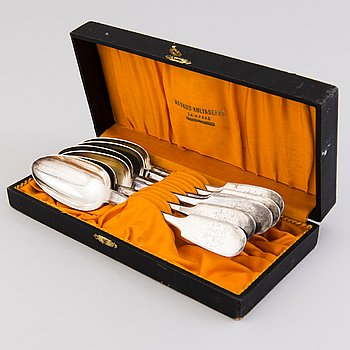 A set of six silver spoons, St. Petersburg, the late 19th century.