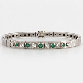 Emerald and brilliant-cut diamond bracelet.
