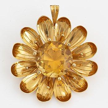 ATELJÈ STIGBERT, ENGELBERT, Brosch/Hänge blomma 18K guld med rund fasettslipad citrin.