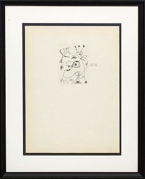 JOAN MIRÓ, etching, unsigned, 1956.