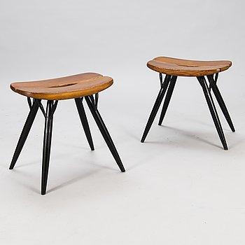 """ILMARI TAPIOVAARA, Two 1960/1970s """"Pirkka"""" stools for Laukaan Puu, Finland."""