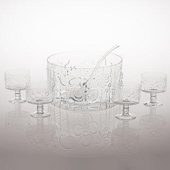 "OIVA TOIKKA, skål samt glas 5 st, ""Flora"", Nuutajärvi Notsjö. I produktion 1966-1991."