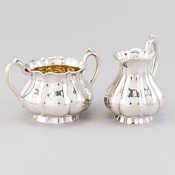 A silver cream jug and a sugar bowl, mark of Bruno Nylund, Helsinki 1924.