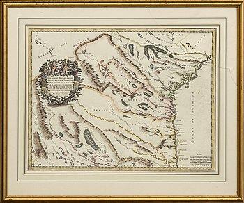 "NICOLAS SAMSON, karta, kopparstick, Helsinge, Medelpadie, Angermannie...""Pierre Mariette, Paris, 1666."