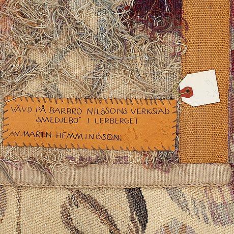 """Barbro nilsson, vävd tapet, """"ångan - ångkraften"""", gobelängvariant, ca 240,5 x 112 cm, signerad ab mmf bn."""