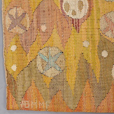 """Barbro nilsson, a tapestry, """"solen"""", a tapestry variant, ca 242 x 110 cm, signed ab mmf bn."""
