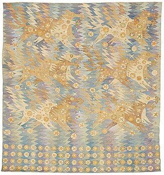 "214. Barbro Nilsson, A TAPESTRY, ""Guldhästen"", a tapestry variant, ca 242,5 x 228 cm, signed AB MMF BN."