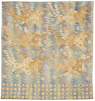 "214. Barbro Nilsson, A TAPESTRY, ""Guldhästen"", a tapestry variant, ca 242,5 x 228 cm, signed AB MMF BN."