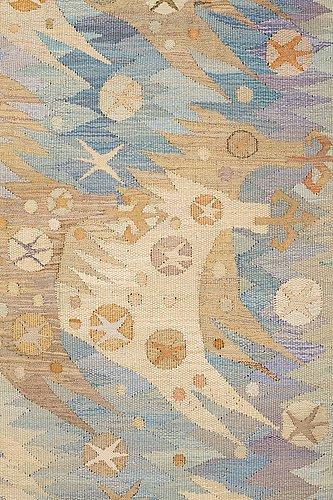 "Barbro nilsson, a tapestry, ""guldhästen"", a tapestry variant, ca 242,5 x 228 cm, signed ab mmf bn."