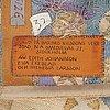 """Barbro nilsson, vÄvd tapet, """"guldhästen"""", gobelängvariant, ca 242,5 x 228 cm, signerad ab mmf bn."""