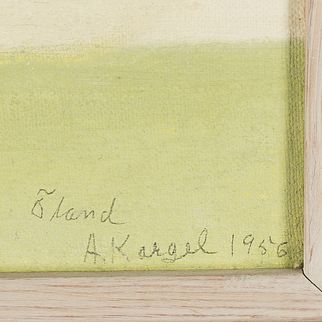 Axel kargel, oil on canvas on board, signed a. kargel and dated Öland 1956.