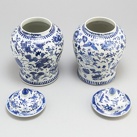 A pair of blue and white vases.