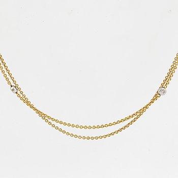 18K gold necklace, with brilliant-cut diamonds.