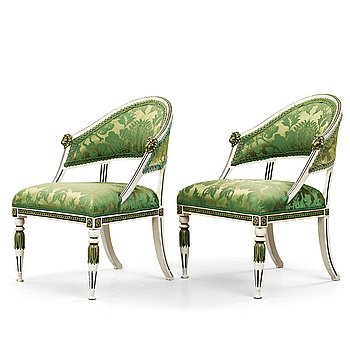 12. A pair of late Gustavian armchairs by Ephraim Ståhl (master in Stockholm 1794-1820).
