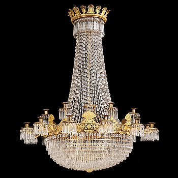 98. An Empire eighteen-light chandelier, 1830's.