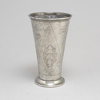 FIRMA SVENSKT TENN, an engraved pewter vase Stockholm 1926.
