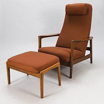 FÅTÖLJ SAMT FOTPALL, Dux modeller tillverkare Asko 1960-tal.